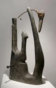 Terracotta ingobbiata – corda – ferro – pietre – chiodo forgiato a mano – 1998 - Cm 25x35x61
