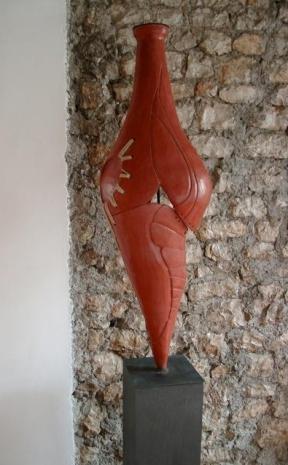 Terracotta ingobbiata – corda – 2005 - basi in ferro cm 40x40x120