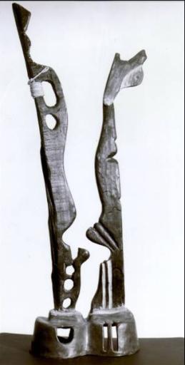 Legno combusto, corda, base in terracotta ingobbiata – 1997 cm30x16x100