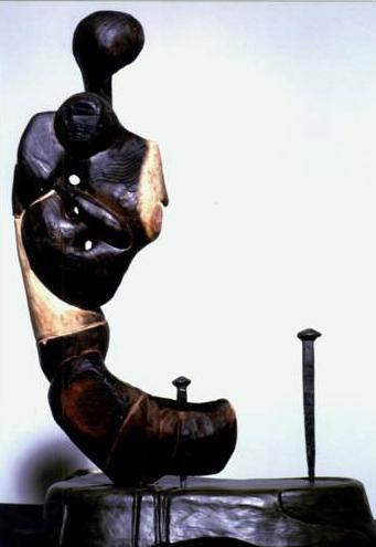 legno combusto – terracotta – chiodi forgiati a mano – 1997 cm 30x20x50