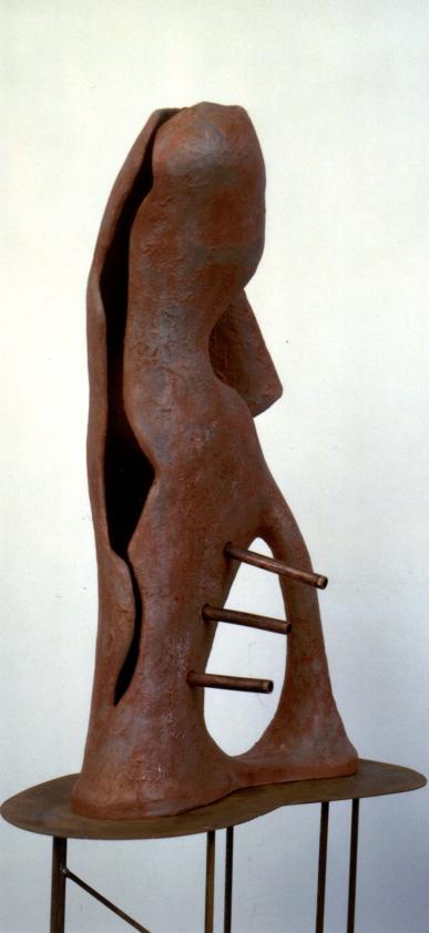 Terracotta ingobbiata – tubi di rame – base in ferro (Kilarski) – 2001 - cm38x18x64