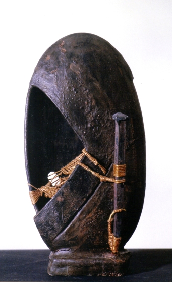 Terracotta ingobbiata, corda, filo, ottone chiodo forgiato a mano – 1997 - Cm 9x22x37